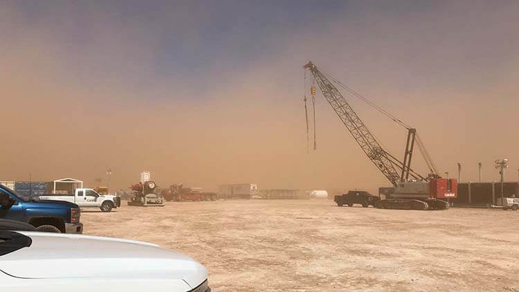 Field Technicians faced everyday challenges like Texas sandstorms.